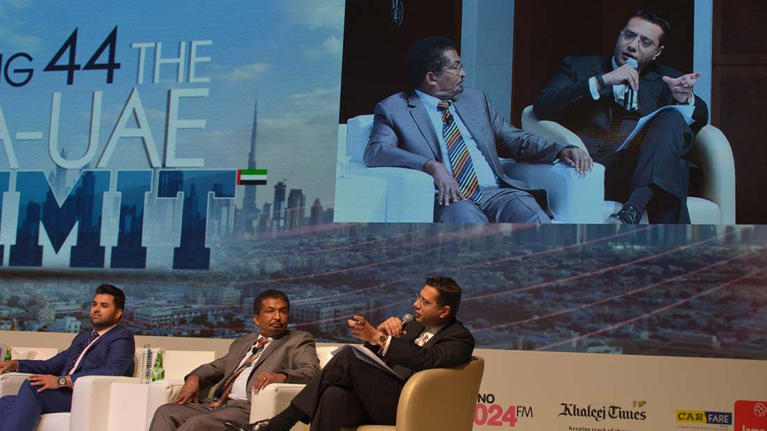 Mr. Yusuf Manji (right) shared his views on tackling epidemics recently at the UAE Business Summit. Dr. Sam Nathan (left), MD, SRC UAE Diagnostics and Dr. Ahmed El Tigani Abdel Rahim (centre), General Manager Al Rawabi Dairy are also seen.